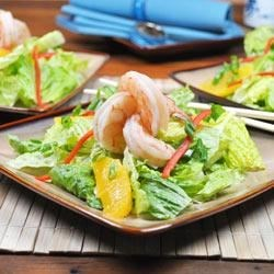 Asian Shrimp Salad Recipe - Small shrimp, orange slices, and red bell pepper are tossed with an Asian Pineapple Dressing in this tasty salad.