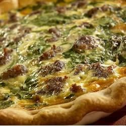 Breakfast Sausage Spinach Pie Recipe - Bob Evans(R) Original Sausage, Swiss cheese, and nutmeg join spinach in this delicious breakfast quiche.
