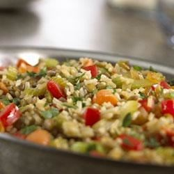 Rice and Lentil Pilaf Recipe - Enjoy colorful vegetables, delicious grains and legumes in this savory side dish cooked in Swanson(R) Vegetable Broth.