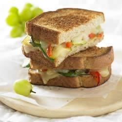 Grilled Gruyere and Roasted Vegetable Sandwich Recipe - Eating your vegetables has never been more enjoyable.