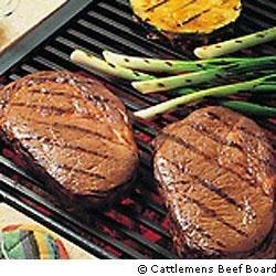 Grilled Pineapple-Soy Glazed Beef Steaks