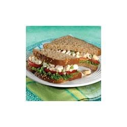 Whole Wheat Chicken Salad Sandwiches Recipe - Swanson(R) Premium Chunk Chicken Breast is seasoned with celery, onion, mayonnaise and yogurt to make a delicious chicken salad that is served with lettuce and tomato on Pepperidge Farm(R) Whole Wheat Bread.