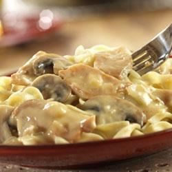 Stroganoff-Style Chicken Recipe - Here's a fun twist on a traditional stroganoff that features flavorful chicken, a savory sauce - but, best of all, it's ready in less than an hour.
