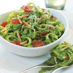 Spinach Almond Pesto Recipe - Use spinach, Parmesan cheese and California Almonds to give pesto a new flavor.  Toss this with pasta and tomatoes.