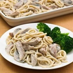 Terrific Turkey Tetrazzini Recipe - Leftover turkey gets a boost in this tetrazzini variation--turkey in a creamy mushroom sauce is mixed with cooked spaghetti, topped with Parmesan cheese, and baked until golden and bubbly.