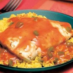 Campbell's(R) Healthy Request(R) Cajun Fish Recipe - Fish fillets simmer quickly in a sauce featuring Campbell's(R) Condensed Tomato Soup that's been seasoned with garlic, herbs and a blend of peppers.