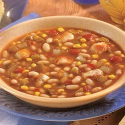 Southwestern Chicken and White Bean Soup Recipe - After a long day, come home to this savory soup, made in the slow cooker with tender chicken, white beans, sweet corn and salsa.