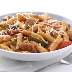 Zesty Penne, Sausage and Peppers Recipe - This lively sauce uses cream cheese to create a rich, velvety texture like your favorite vodka sauce.