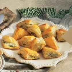 Spinach Triangles Recipe - A classic Greek combination - feta cheese, spinach, onion and parsley - made with convenient puff pastry sheets instead of phyllo.