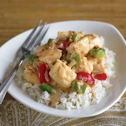 Chicken with Peanut Curry Yogurt Sauce Recipe - Simple ingredients combine to give stir-fried chicken an exotic flavor. Serve with rice for a super delicious weeknight surprise!