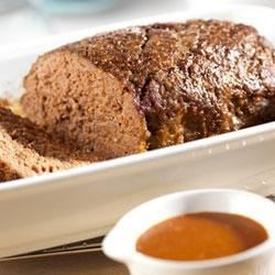 Best-Ever Meatloaf Recipe - Condensed tomato soup is baked into the meatloaf for flavor, and also makes a tasty pan sauce to serve on the side.