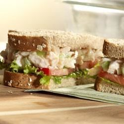 Swanson(R) Heart Healthy Chicken Sandwich Recipe - This exquisite chicken salad is made with Swanson(R) Premium Chunk Chicken Breast, chopped celery and onions, mixed with a delicious dressing made from light mayonnaise and yogurt, to be served on sandwiches made with Pepperidge Farm(R) 100% Whole Wheat Thin Sliced Bread.
