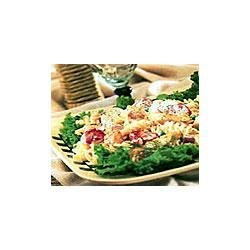 Chicken Pasta Salad Recipe - The secret to this flavorful pasta salad, loaded with chicken, colorful vegetables, dill and Parmesan cheese is using Swanson(R) Chicken Broth in the salad dressing and tossing it while the pasta is hot.