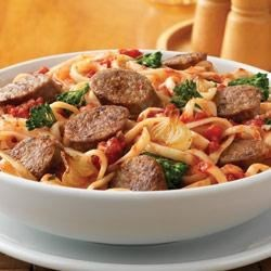 Johnsonville Zesty Italian Sausage Pasta Recipe - Flavorful Johnsonville Italian Sausage and broccoli in a light tomato garlic sauce with linguine pasta. This dish is simply irresistible.