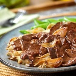 Beef with Caramelized Shallots Recipe - You won't believe the incredible flavor you get from this simple skillet dish...a smart mix of on-hand ingredients makes it easy.