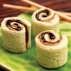 Peanut Butter and Jelly Sushi Rolls Recipe - This 2007 Jif(R) Most Creative Peanut Butter Sandwich Contest grand-prize winning recipe is a fun take on the classic PB& J sandwich. They're perfect for a quick snack, appetizers for a children's birthday party, or simply a great lunch-box surprise.