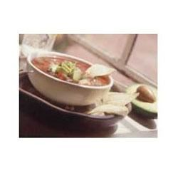 Gazpacho with Avocado and Cumin Chips