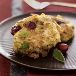 McCormick(R) Cranberry-Sage Mini Crab Cakes Recipe - Serve these miniature crab cakes as a holiday appetizer or at brunch. Rubbed sage and orange zest season the crab cake mixture and dried cranberries add festive color.