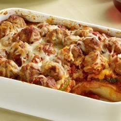 Sister Schubert's(R) Meatball Casserole Recipe - Combine meatballs, green peppers, onions, mozzarella cheese, your favorite spaghetti sauce and Sister Schubert's Whole Wheat Dinner Yeast Rolls for a meal your family will devour.