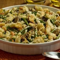 Sister Schubert's(R) Green Bean Casserole Recipe - Forget canned veggies! Fresh green beans, along with mushrooms, thyme and Sister Schubert's Parker House Style Rolls, make this one extraordinarily delicious dish.
