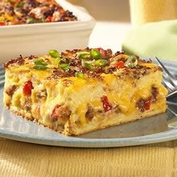 Jimmy Dean Breakfast Casserole Recipe - Breakfast is a breeze with this all in one breakfast casserole that has sausage, eggs, cheese, bread.  If you like, add tomatoes and mushrooms too!