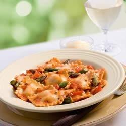 Whole Wheat Cheese Ravioli, Marinara Sauce and Fresh Asparagus