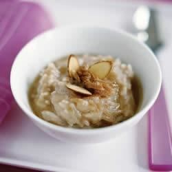 Cinnamon Almond Rice Pudding Recipe - Almond milk, basmati rice, and sliced California Almonds are used to make this creamy, nutty rice pudding.