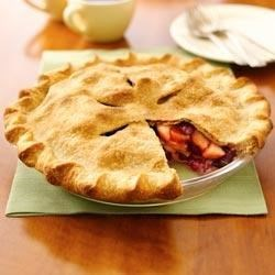 Festive Apple-berry Pie Recipe - There's no need to thaw the cranberries when making this luscious fruit pie.