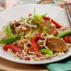 Spicy Thai Pork with Vegetables and Sesame Noodles