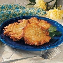 Crispy Potato Pancakes Recipe - Here's a potato pancake that doesn't take much time to make and is just right for two people. Weekends become our time to relax and enjoy life, and this is one of our favorite treats. -Nancy Salinas, Grand Rapids, Minnesota