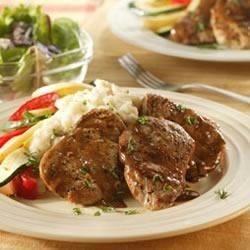 Pork Tenderloin Diane Recipe - A classic French pan-sauce made with Worcestershire sauce, Dijon mustard and lemon juice is a delicious way to enjoy sautéed pork tenderloin medallions.
