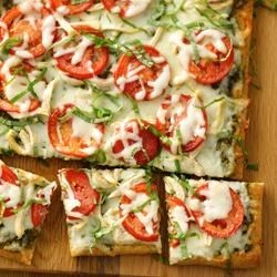 Chicken Pesto Pizza from Pillsbury(R) Artisan Pizza Crust Recipe - Presto! It's pepped-up pizza with pesto, chicken, tomatoes and cheese!