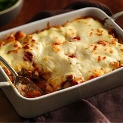 Progresso(R) Baked Ziti Casserole Recipe - Your family will love this hearty Italian casserole made with Progresso™ Recipe Starters™ fire roasted tomato cooking sauce.