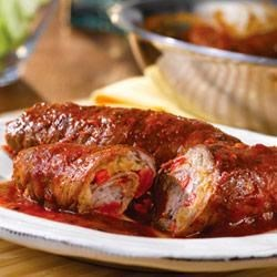 Beef Braciole Recipe - It may be one of the simplest dishes in Italian cooking, but it's really tasty. Thinly sliced beef is rolled around a mixture of sauteed veggies and bread crumbs and served in a red sauce....sounds good, doesn't it?