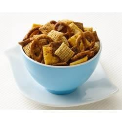 Buffalo Chex(R) Mix Recipe - Hot sauce and ranch dressing mix make for a spicy and tangy snack mix.