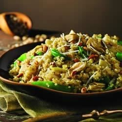 Quinoa Pilaf with Artichokes, Leeks and Sugar Snap Peas