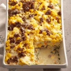 Spicy Brunch Lasagna Recipe - This make-ahead egg casserole features lasagna noodles, Classico(R) Four Cheese Alfredo pasta sauce and hash brown potatoes, making it great for brunch or a simple dinner.