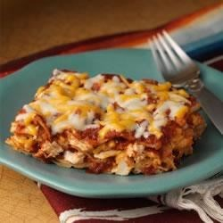 Easy Cheesy Chicken Enchiladas Recipe - Corn tortillas layered with a spicy tomato puree, shredded chicken and melted cheese.