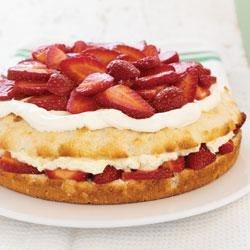 Simply Sensational Strawberry Shortcake Recipe - Tender shortcake is layered with juicy strawberries and a mixture of vanilla pudding and whipped topping.