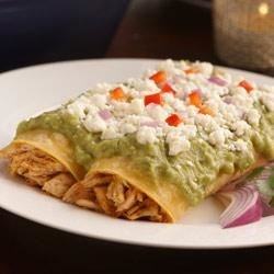 Cheesy Chicken Avo Enchiladas