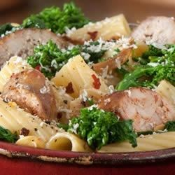 Rigatoni with Italian Sausage and Broccoli Rabe Recipe - This hearty pasta recipe combines spicy Italian sausage with broccoli rabe, for a quick and satisfying supper.