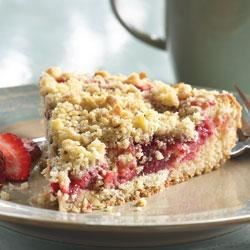 Strawberry Coffee Cake from Smucker's(R) Recipe - Linger a little longer over your coffee with this strawberry coffee cake topped with a nutty crumble.