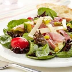 Ham, Garden Vegetable and Spring Mix Salad with Swiss Cheese Recipe - Fresh, crisp salad greens and tossed with slices of ham and Swiss cheese, asparagus, mushrooms, and thin onion rings in a creamy Dijon dressing.