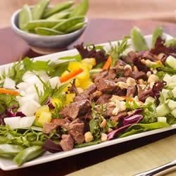 Spicy Gingered Beef and Snap Pea Salad Recipe - Chopped flank steak cooked with garlic and fresh ginger tops fresh salad greens, colorful bell peppers, cucumber, and snap peas dressed with a zesty ginger dressing.