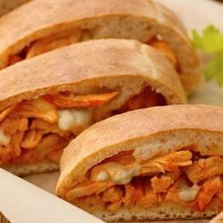 Buffalo Chicken Stromboli by Pillsbury(R) Recipe - Spicy buffalo chicken is wrapped in tender pizza crust in a delicious rolled sandwich.