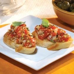 Bruschetta A La Maille(R) Recipe - Classic tomato and basil bruschetta get a zesty update with old style mustard.