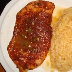 Jalapeno Chicken Recipe - Chicken is coated with a spicy rub, and baked with a hot, tangy sauce.