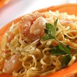 Shrimp with Garlic Cream Sauce over Linguine