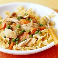 Cheesy Chicken and Noodles Recipe - Purchased cooked chicken breast strips, frozen vegetables, and Classico(R) Light Creamy Alfredo pasta sauce make it possible for busy cooks to come up with quick and easy dinner recipes. This dish takes advantage of those products and is ready to eat in 25 minutes.