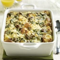 Sister Schubert's(R) Breakfast Bake Recipe - This substantial casserole of eggs, cheese, onion, spinach, sausage and Sister Schubert's Whole Wheat Yeast Dinner Rolls can be assembled the night before and baked the next morning.